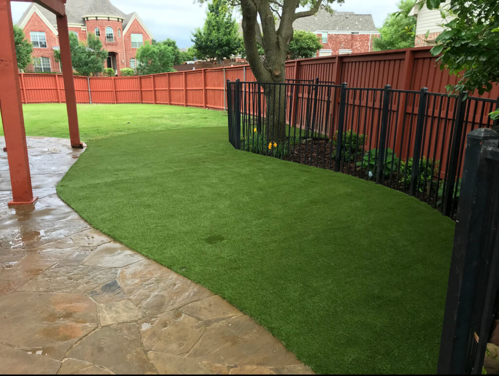 residential lawn with artificial turf