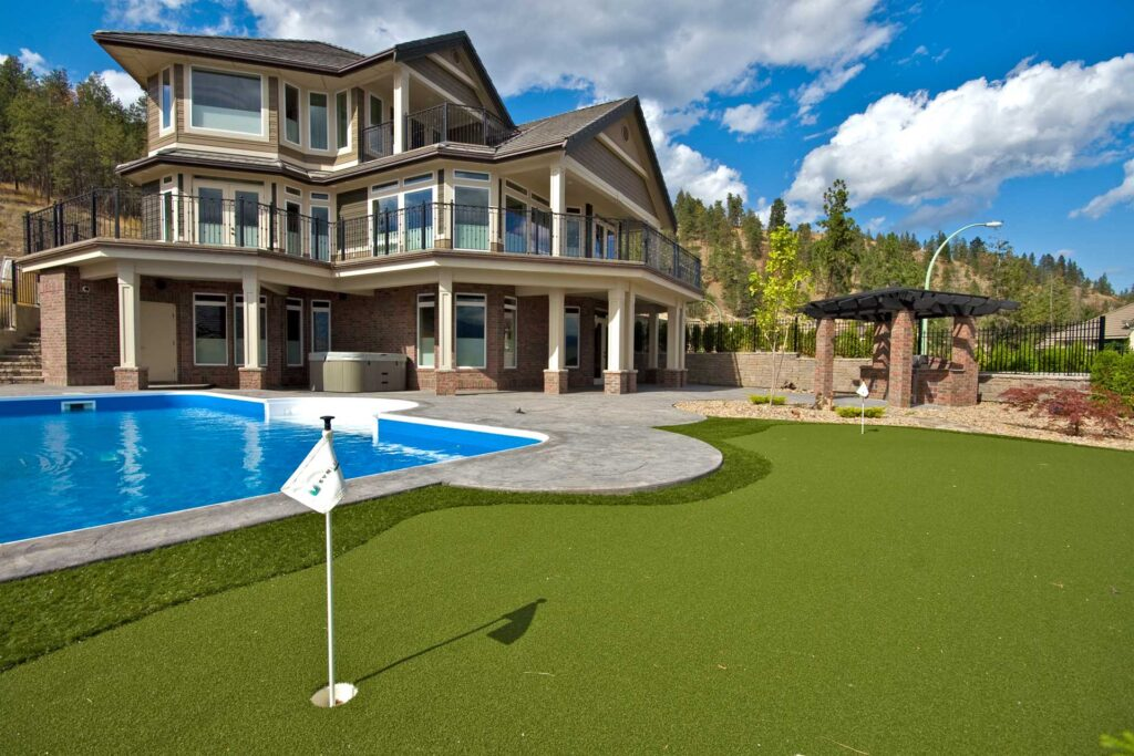 golf practice field built on artificial turf