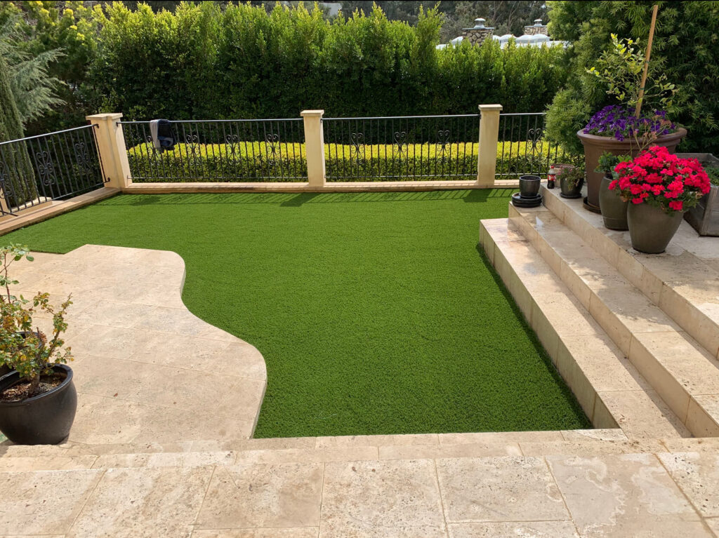 residential lawn built with artificial turf